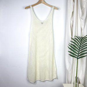 AERIE White Summer Crochet Knit Tank Beach Dress